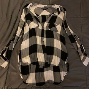 Rock and Republic Black and White Flannel